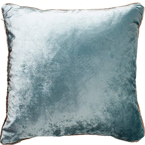 McAlister Textiles Shiny Velvet Pillow Cover Duck Egg Blue Metallic Look Plain Hand-Made Decorative Decor Throw Couch Pillow for Bedroom Sofa Living Room Sham Dimensions - 16 x 16 Inches