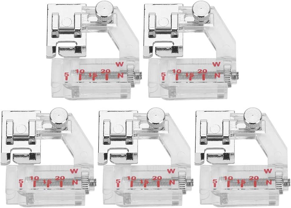 Accesorio de Accesorio de máquina de Coser de prensatelas de sesgo Ajustable de 5 Piezas para Brother, Singer, UKI, Feiyue, Acme