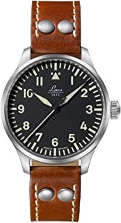 Laco Pilots Watches Basic Augsburg 39 861988 Black Dial Luminous Hands Brown Leather Strap Watch