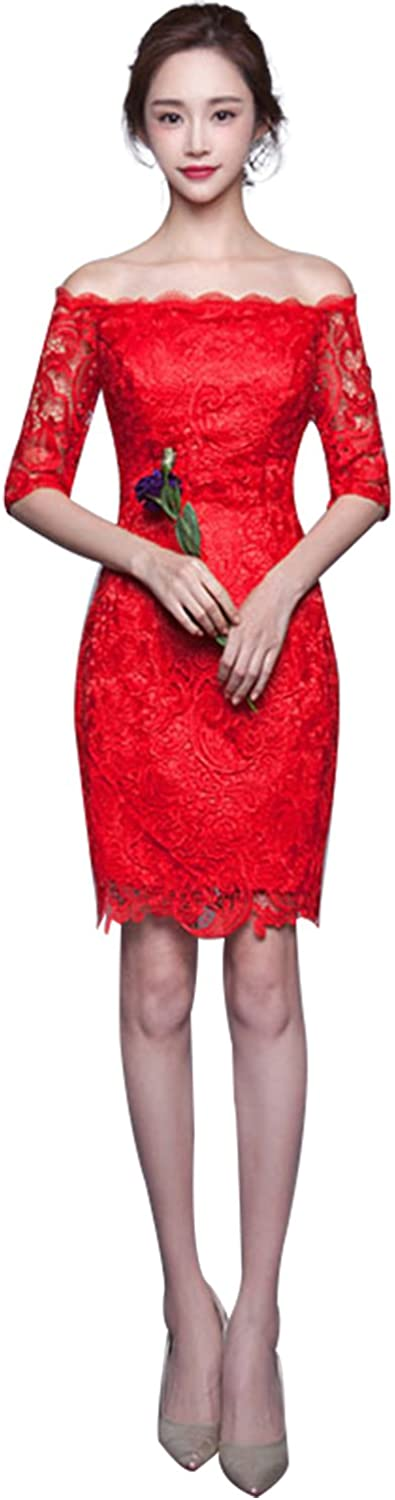 Epinkbridal Womens Sexy Off Shoulder Floral Lace Cocktail Party Sheath Dress Short Evening Gowns