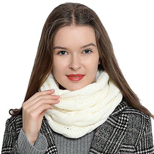 DonDon Sciarpa Tubo invernale in maglia da donna caldo e morbido Loop Tube - bianco