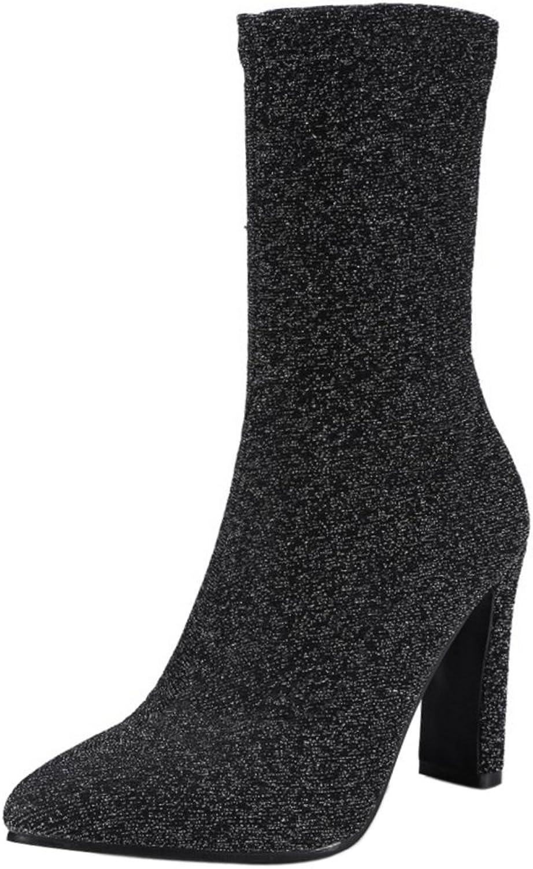 TAOFFEN Women Fashion High Heel Dress Boots Slip-on Autumn Stretch Short Boots