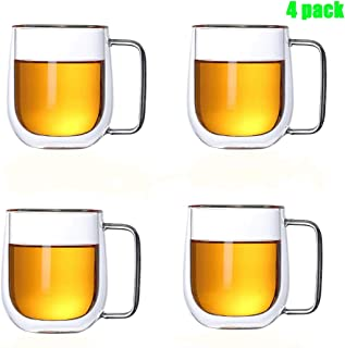 Large double wall glass coffee mug with handle,Big belly cup.Top quality espresso, Thermos Insulated Cup for Tea, Latte, Cappuccino – set of 4(14oz,400ml)