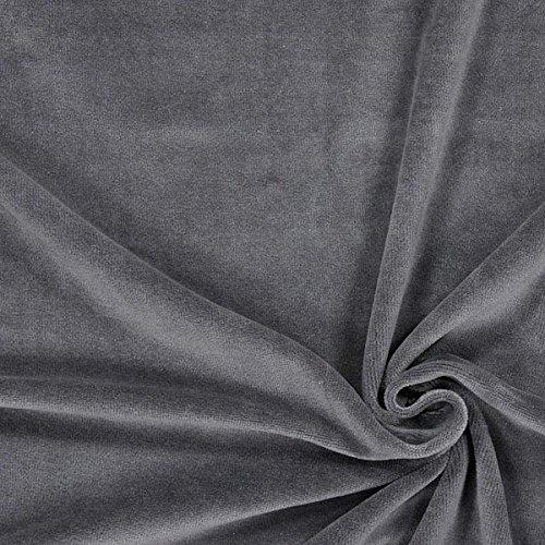 Nicki Stoff Uni – grau — Meterware ab 0,5m — zum Nähen von Kissen/Tagesdecken, Hauskleidung & Sport/Funktion