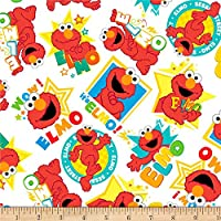 EXCLUSIVE Sesame Street Digital Tossed Elmo, White, Fabric by the Yard