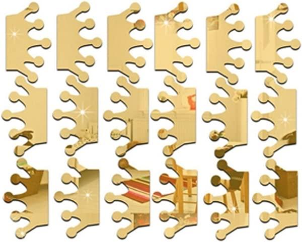 CH 18Pcs Lot 3D Acrylic Mirror Wall Stickers Kids Room Decoration Princess Crown Shape Sticker Wall Gold