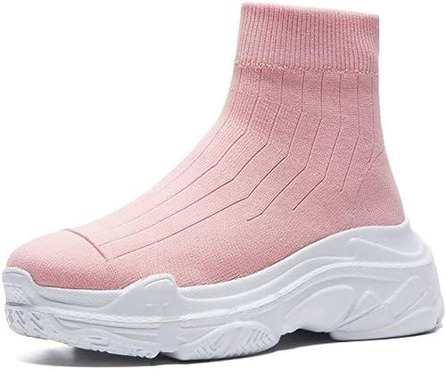 HRN Chaussons pour Femmes Chaussettes en Laine tricotées à Manches Rondes avec Culotte à Talons Hauts,rose,39EU