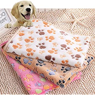 Idepet Soft Coral Throw Pet Blanket, Dog Cats Sleep Bed Mats Puppy kitten Doggie Soft Warm Slepping Sitting Pad Cover Pet Cushion with Paw Print (L, White):Kumagai-yutaka