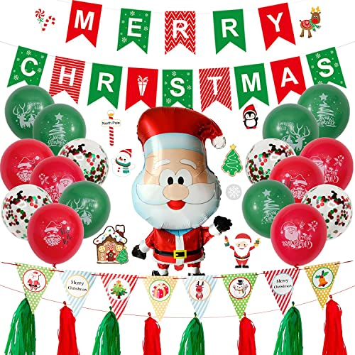 Wang Guozhang Weihnachtsdekoration Ballons rote & grüne Flaggen Aluminium Filmballons Weihnachtsfenster Hintergr& Dekoration Party Ballons (Color : Suit 2)