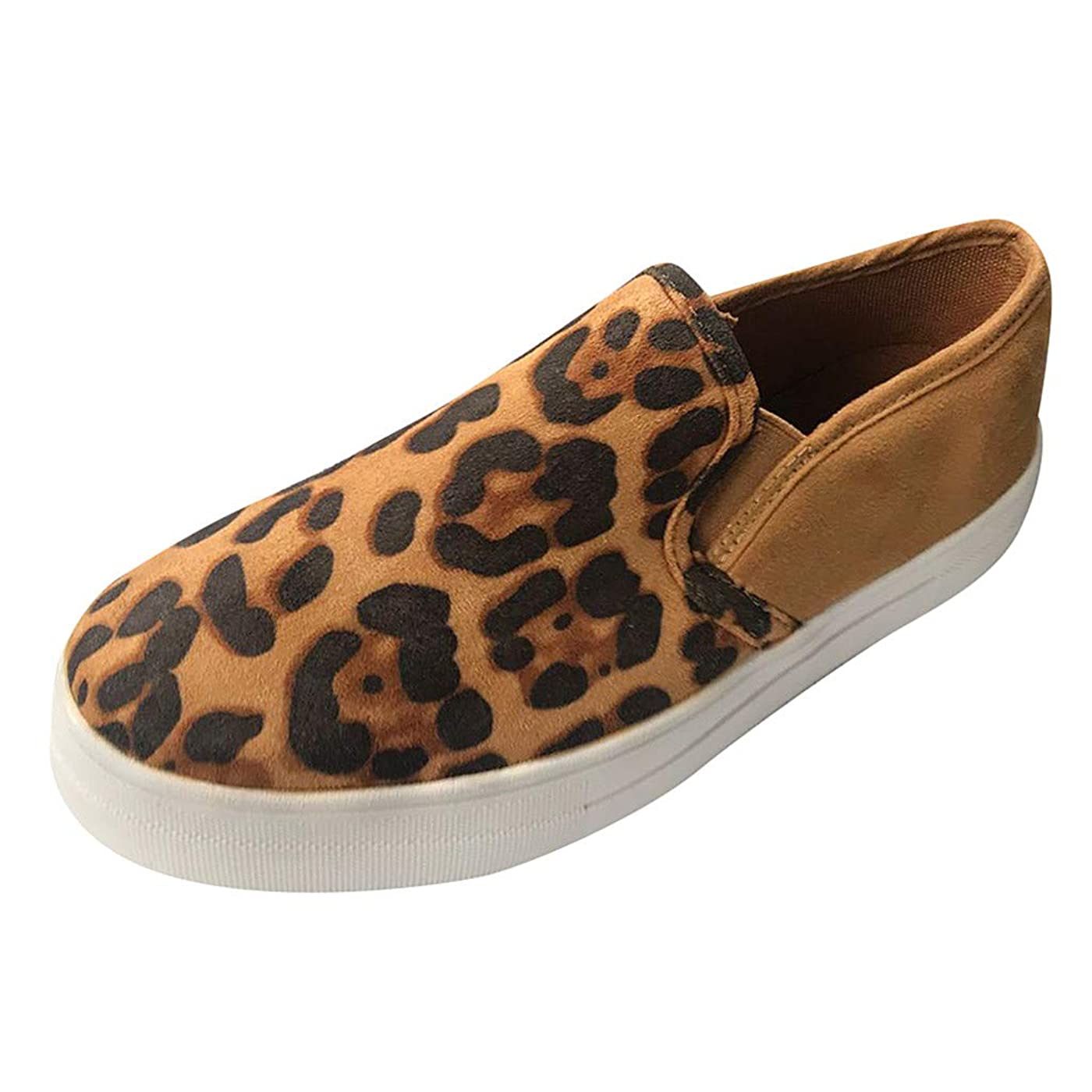 TnaIolral Ladies Canvas Shoes Fashion Leopard Casual Loafers Roman Cloth Sneaker oglg376157267415