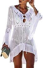Saherewanr Women Swimsuit Cover Up Dress Lace Long Bathing Kimono Beach-wear Mini Crochet Stripe Cardigan White Tassel Skirt