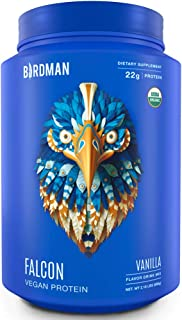 Birdman Falcon Protein, Organic Plant Based Powder 2.18 lb, 33 Servings, Vanilla Flavor, Vegan, Gluten Free, Kosher, Non-GMO, Drink Mix, with Pea and Rice
