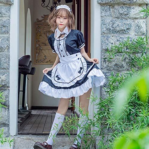 DHJZS Süße Gothic-Kleid Französisch Mädchen-Kostüm Anime Cosplay Sissy Maid Uniform Plus-Halloween-Kostüme for Frauen (Color : Red, Size : 4XL)