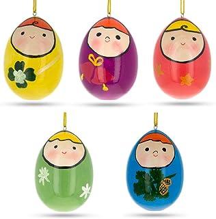 BestPysanky Set of 5 Wooden Egg Shaped Matryoshka Nesting Doll Ornaments