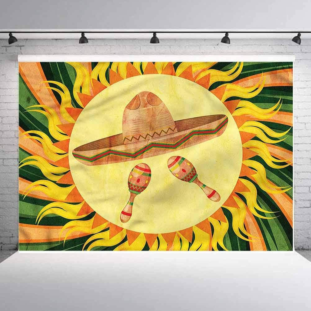 8x8FT Vinyl Photography Backdrop,Mexican,Hippie Sombrero Photoshoot Props Photo Background Studio Prop