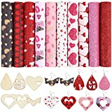 Caydo 10 Pieces Faux Leather Sheets Heart Printed with 6 Pieces Earring Templates Leather Fabric Glitter Leather Sheets for Earring Hair Bow Making (8.3 x 6.3 Inch)