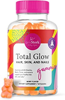 Pink Stork Total Glow: Berry Flavored Hair, Skin, and Nails Gummies with Biotin, Folate, Zinc, Vitamin B6, Vitamin A, Vita...