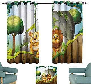 Mannwarehouse Forest Windshield Curtain Lion Family in The Jungle Woods King Zoo Nursery Illustration Set of Two Panels 55