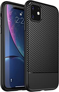 Case for iPhone 11,Carbon Fiber Texture Design Slim Fit Ultra-Thin Back Cover,Soft TPU Lightweight Bumper,Anti-Scratch Shock Proof Dust Body Protective Phone Cover for iPhone 11 6.1 Inch Black(2019)