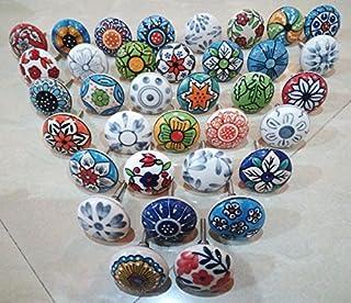 30 x Mix Vintage Look Flower Ceramic Knobs Door Handle Cabinet Drawer Cupboard Pull