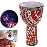 MMJJQWE Mini Djembe, Congo African Wood Drum 16' High, Professional Premium Quality, Fabric Rainbow, for...