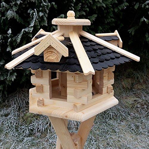 Qualitäts Vogelhaus mit Holzschindeln 6 Eck lasiert Vogelhäuser-Vogelfutterhaus großes Vogelhäuschen-aus Holz Wetterschutz (Schwarz)