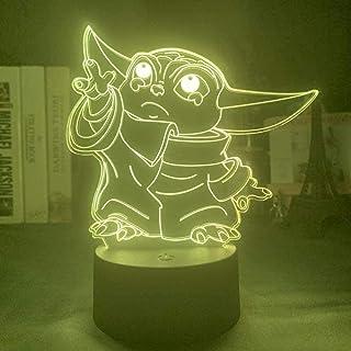 BTEVX Lámpara de ilusión 3D Luz de noche LED Sad Baby Yoda para dormitorio de niños Lámpara de mesa de Star Wars que cambia de color Los mejores regalos de cumpleaños para niños