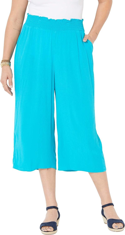 Catherines Women's Plus Size Gauze Pull-On Capri