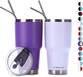 Zonegrace 2 Pack 30oz Tumbler with Lid with Straw, Stainless Steel Vacuum Insulated Double Wall Travel Tumbler, Durable Insulated Coffee Mug, Thermal Cup with Splash Proof Sliding Lid