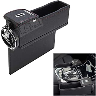 Dhe Best CA-02 Car Armrest Storage Organizer Between Front Seats Car Seat Gap Filler Console Side Pocket with Coin Collector PU Leather Black for Honda CRV Type 2