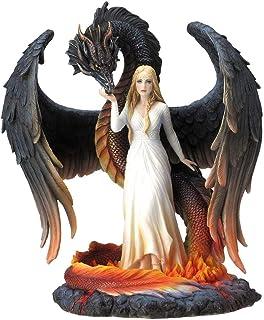 Figura Decorativa Fantasía Multicolor de Resina Hada Bella con Dragón. Adornos y Esculturas. Decoración Hogar. Regalos Ori...