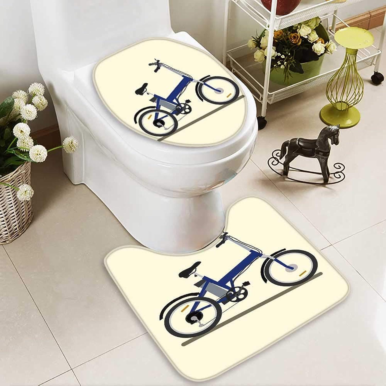 Analisahome Cushion Non-Slip Toilet Mat Electric Bike Vector Illustration Soft Non-Slip Water