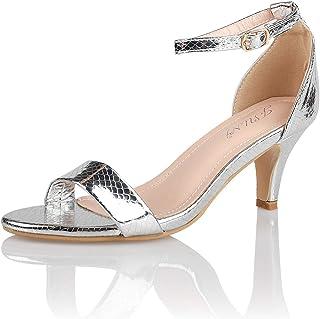 JSUN7 Women`s Fashion Stiletto Low Heel Sandal Pump Shoe