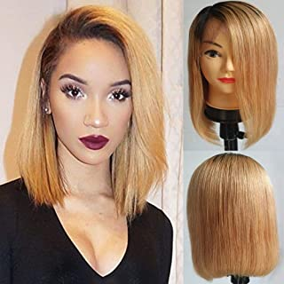 Hexuan Hair 1B/27 Ombre Wigs Glueless Lace Front Short Bob Wigs Straight Peruvian Human Remy Hair Wigs For Women Honey Blonde Human Hair Wigs Preplucked With Baby Hair(10