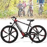 JINGJIN Bicicleta De Montaña Eléctrica para Adultos, Cuadro de montaña de Acero con Alto Contenido de Carbono de 26', Freno de Disco mecánico, Velocidad 35 km/h, Kilometraje en Modo Pas 60-70 km/h
