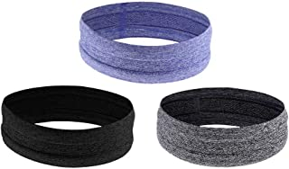 Sweatbands for Women Men 3-Pack Non Slip Unisex Super Absorbent Sweat Bands Workout Wicking Head Bands for Running, Crossfit, Cycling, Yoga, Basketball - Stretchy Moisture Wicking Unisex Hairband