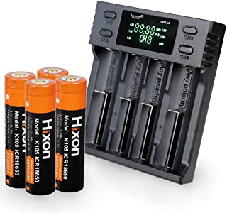 小さくてコンパクト バッテリーバッテリー充電式バッテリー3000mAh3.7V4個のlifepo4充電器付きHixon ..
