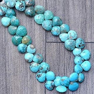 Perlas facetadas de piedras preciosas de color turquesa, briolette de corazón turquesa natural de 8 mm a 9 mm | Briolette ...
