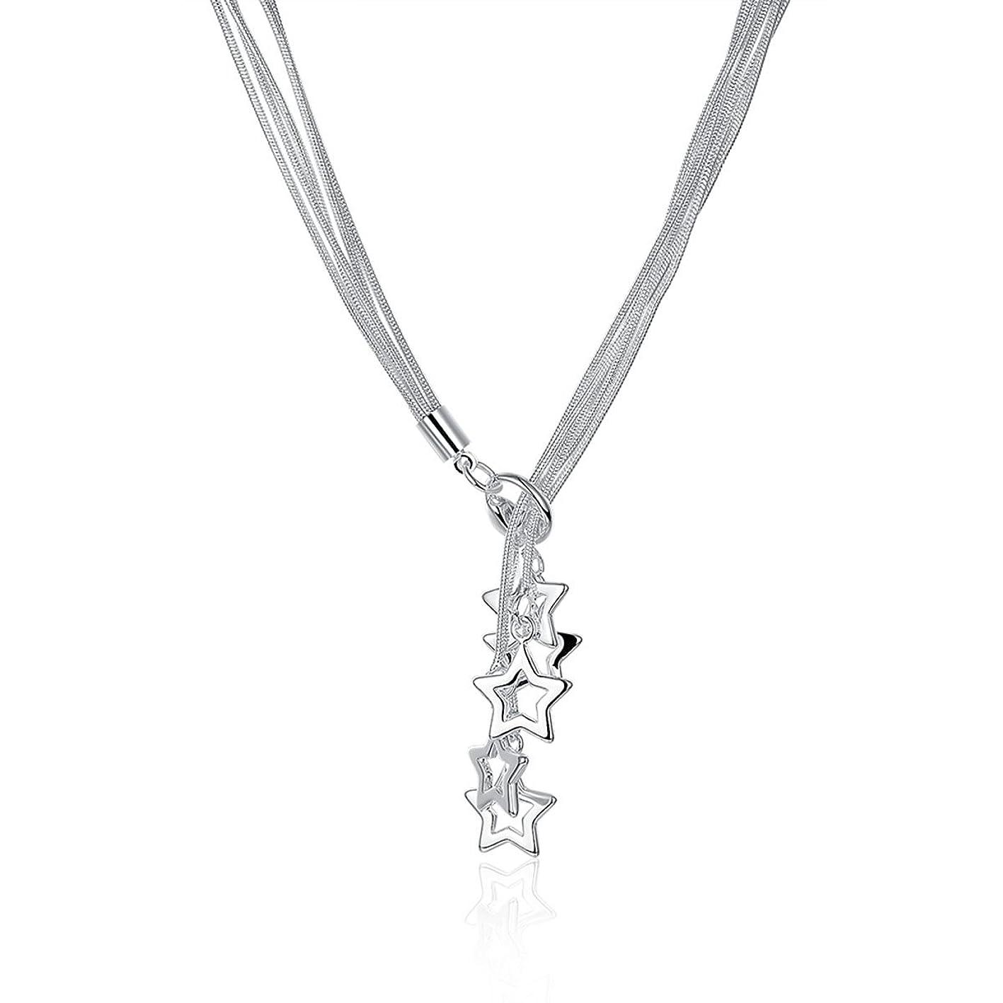 Kebaner Five Point Star Pentagram Multi Strand Slim Silver Snake Chain Lariat Necklace Gift for Women 18 ywdrapnxhqy556