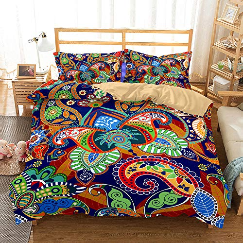 Bedding Set 3D Colored Paisley Pattern 4 Pieces,Morbuy Quilt Cover Microfiber Wrinkel Resistant,Includes Duvet Cover with Zipper Closure*1 Pillowcases*2 Flat Sheet*1 (dark blue,180x220cm)