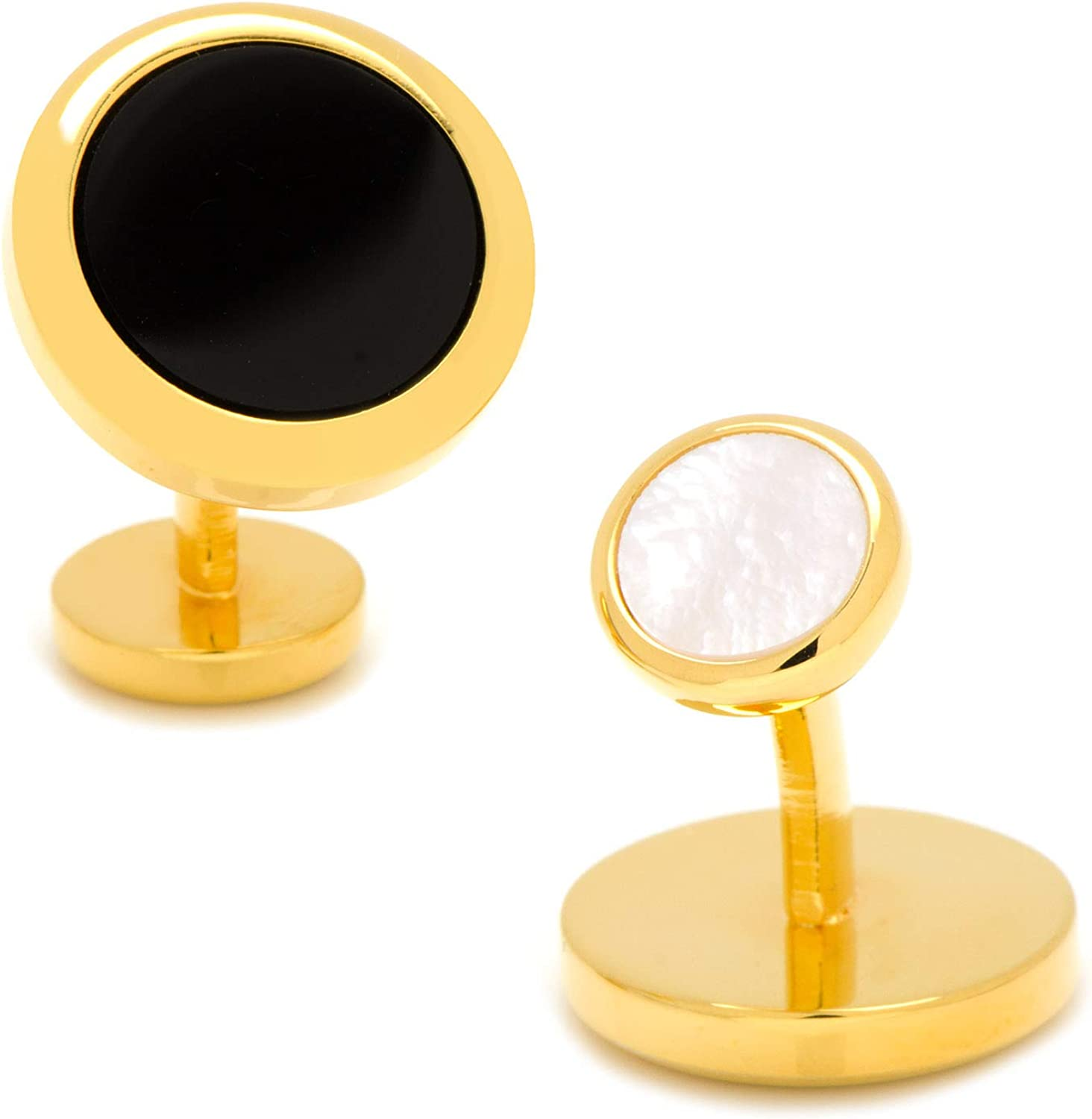 Ox and Bull Trading Co. Double Sided Gold Onyx Round Beveled Cufflinks