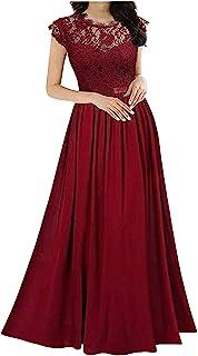 QiFei Elegante mouwloze damesjurk met ronde hals, vintage, kanten jurk, bruiloft, chiffon, plooirok, lange jurk, kanten ju...