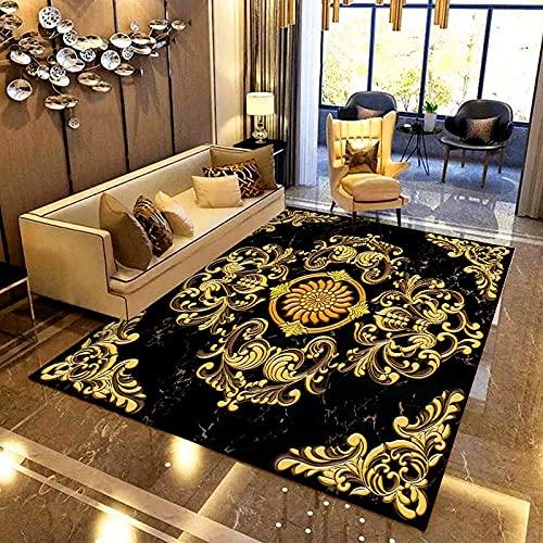 Pegatina de suelo 3D personalizada, papel tapiz autoadhesivo impermeable, estilo europeo, patrón de flores doradas, sala de estar, dormitorio, mural de suelo-400x280cm