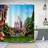 SDDSER Magic Kingdom Castle Shower Curtain Decor Bathroom Curtain for Kids, Waterproof Fabric 72X72 with 12 Hooks YLZYSD60