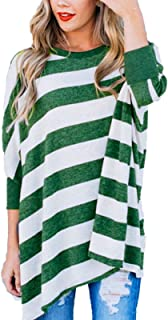 Women's Striped Tops Long Sleeve Shirts Casual Loose Batwing Tunics Blouse