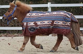 Showman Brown/Turquoise Southwest 1200 Denier Waterproof Turnout Blanket - 300 Gm - Large Mini/Pony