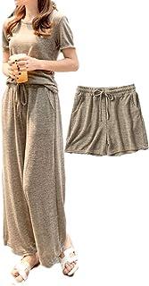 [ウィトパ] ルームウェア ゆったり 春夏 部屋着 ワイドパンツ Tシャツ ショートパンツ 3点セット レディース 5カラー