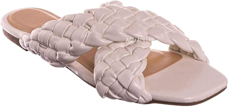 Thick Braided Woven Slides Womens Open Squared Toe Slip On Mule Slipper