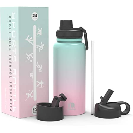 Macrosaving Water Bottle with Straw (27oz), 3 Lids, Double Wall Vacuum Stainless Steel Sports Insulated Water Bottle, Leakproof BPA Free Personalized Water Bottle Travel Thermos for Biking, Hiking