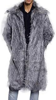 HaiDean Giacca Invernale da Uomo Sintetica Pelliccia Cappotto in Casual Moderna per Uomo Parka con Pelliccia Lunga Cappott...